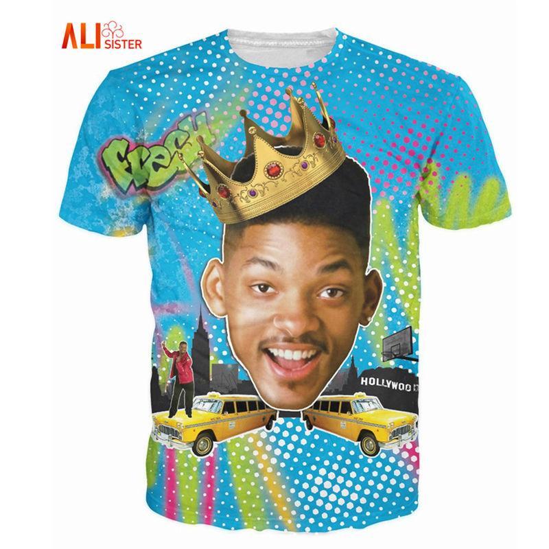 ... Fresca Will Smith T Shirt Sexy Tee Fresco Príncipe De Bel Air 3d Camiseta  Básica Tshirt Para Mulheres Homens Tops 17310 De Tao02 12b3f500e5449