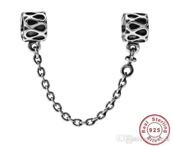 Jóias finas autêntica prata esterlina 925 Bead Fit Pandora Charme Pave Inspiração segurança de cristal contas cadeia de contas