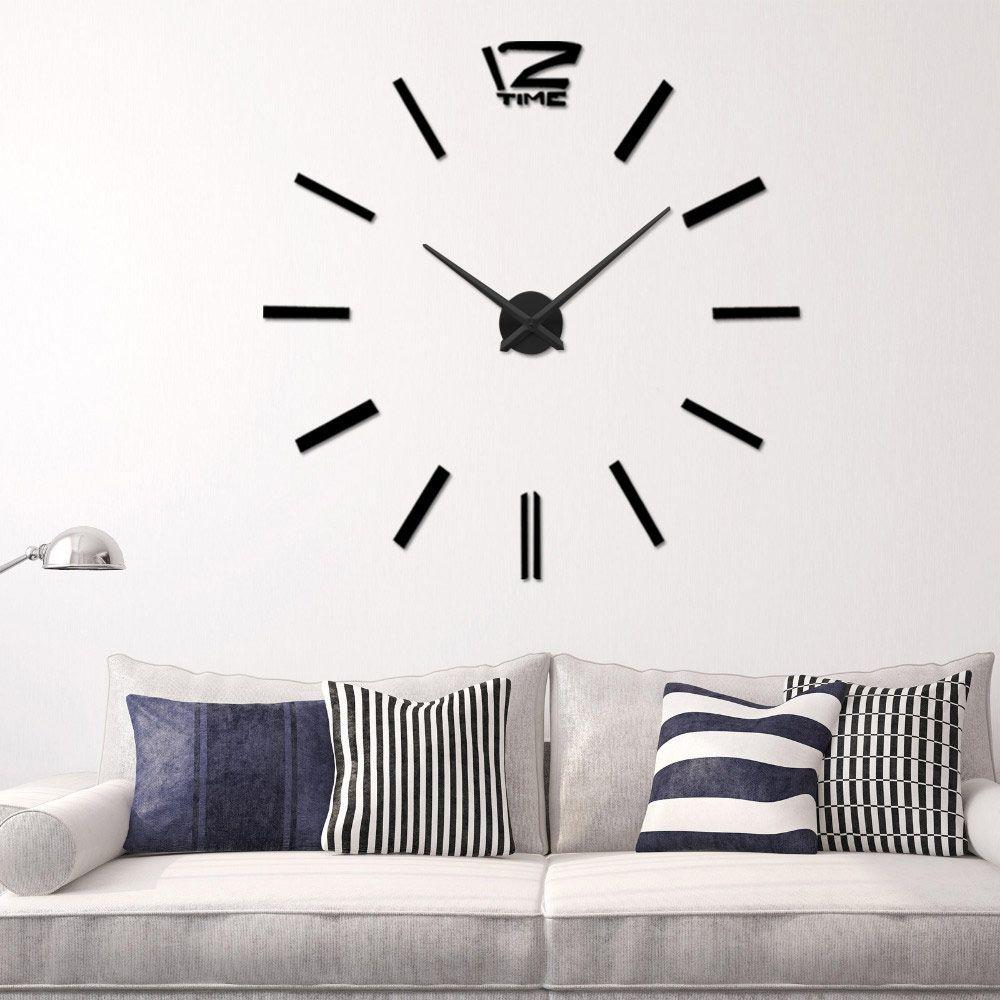 Luxury 3d Mirror Silver Wall Clock Modern Design Home Decor Watch Wall Sticker Room Decoration Accessories Durable Service Home Decor