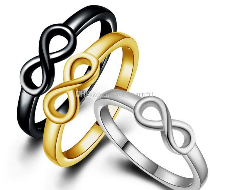 fashion Man woman Ring Infinity 8 words silvery black Golden Ring Lovers ring Size US6-US10