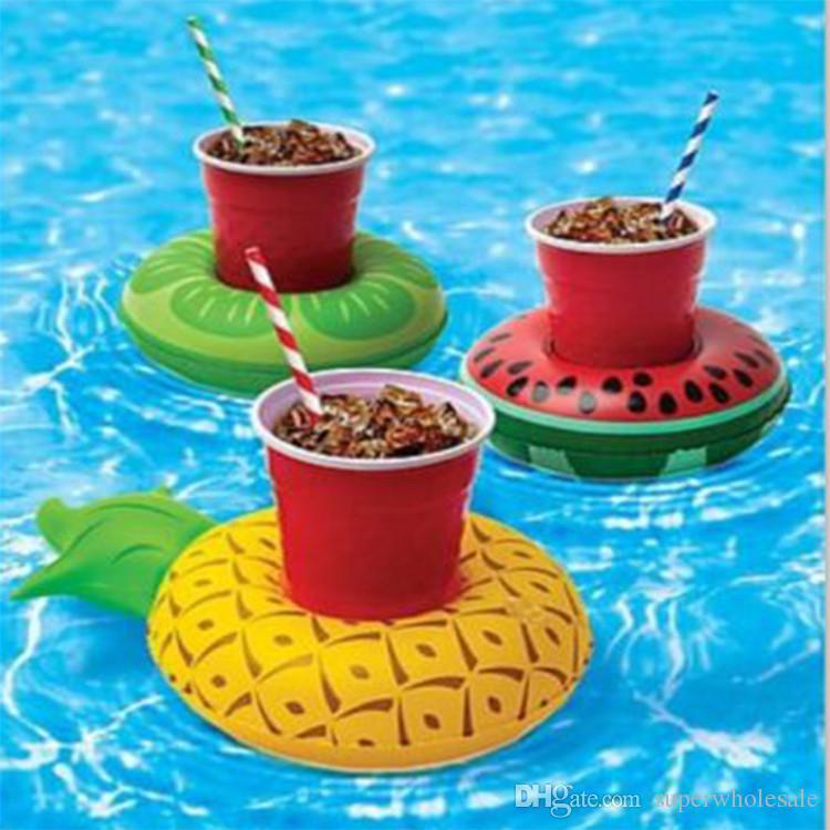 도넛 형 풀 음료수 홀더 플로트 파인애플 수박 키위 플로팅 풍선 컵 홀더 풀 파티 장식