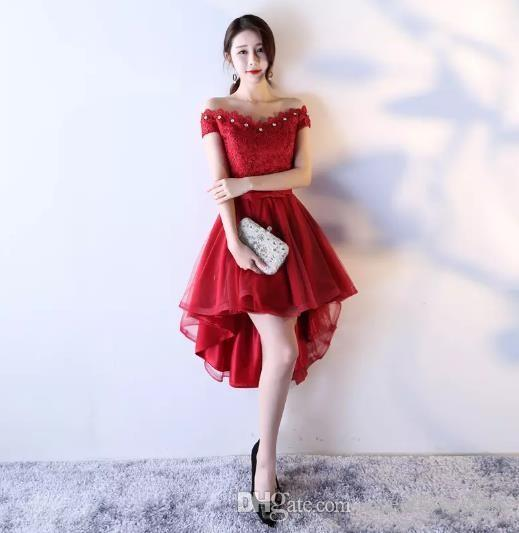2017 Vintage Red Lace Chiffon Evening Dresses A-Line Hi-Lo Beaded Bow Prom Gown For Custom Made