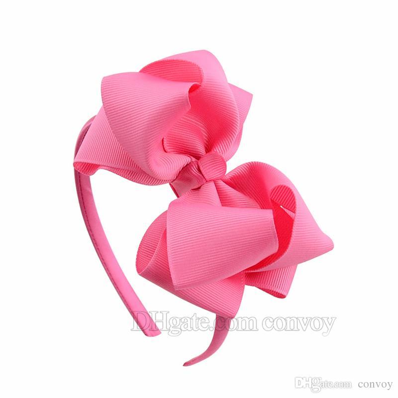 4.5 pollici neonate fiocco fiocchi capelli principessa boutique grosgrain accessori capelli ragazza fasce capelli in plastica doppi fiocchi bastoncini capelli KFG07