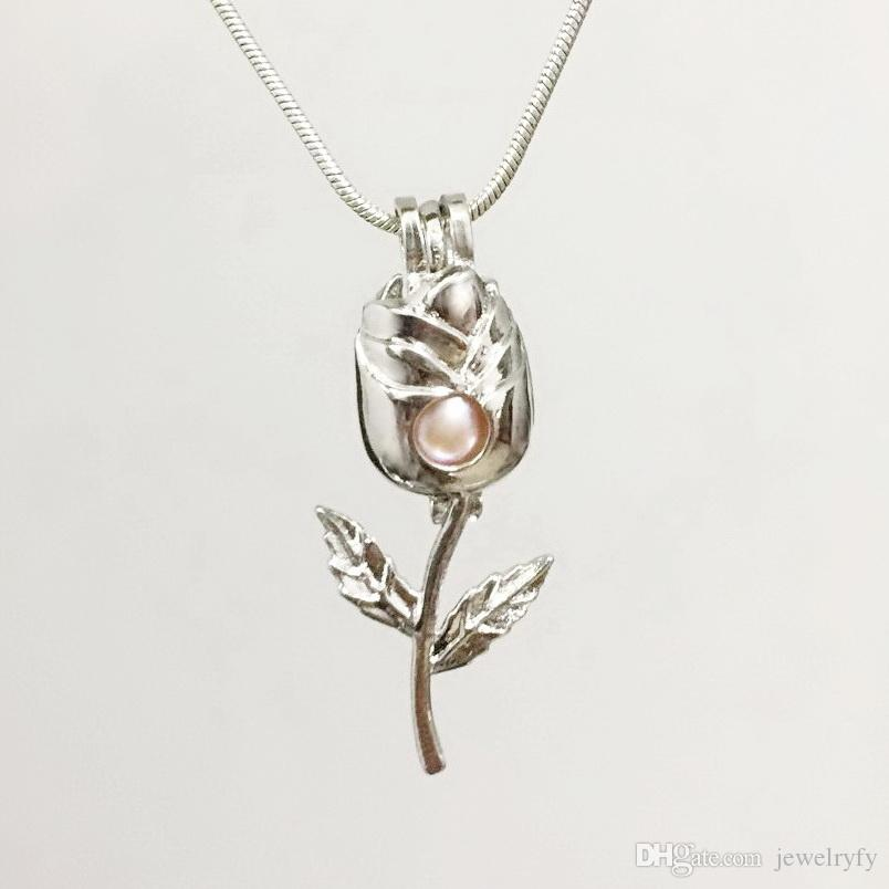 2018 18kgp New Rose Cage Pendant Can Hold A Pearl Gem