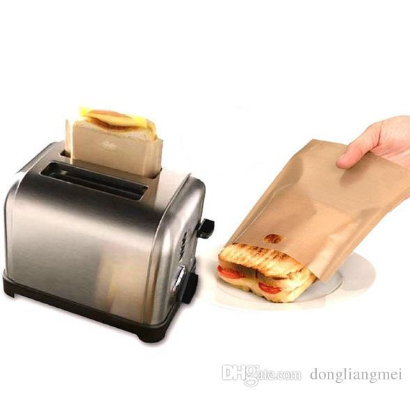 PTFE Sandwich Toasters bread cake Bag reusable non stick baking bag barbecue microwave oven Fries Heating bag BBQ bags 16*16.5cm wn080