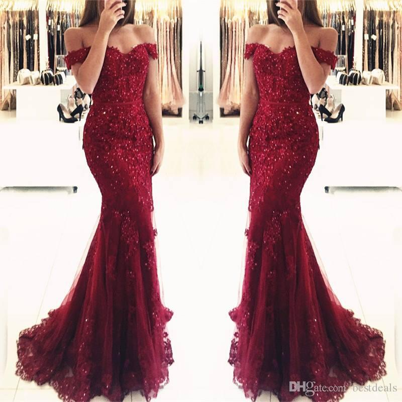 Burgundy Lace Mermaid Appliques Off-the-shoulder Evening Dresses 2019 Vestido De Festa Beaded Sequins Long Prom Gowns BA3809