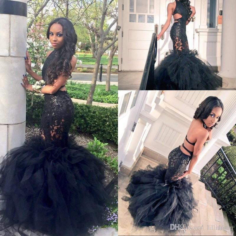 296b70bd41c 2017 Black Girl Mermaid Lace Prom Dresses Sexy Backless Halter Evening  Party Dresses 8th Grade Graduation Dresses Cut Out Pageant Gowns Long  Sequin Prom ...