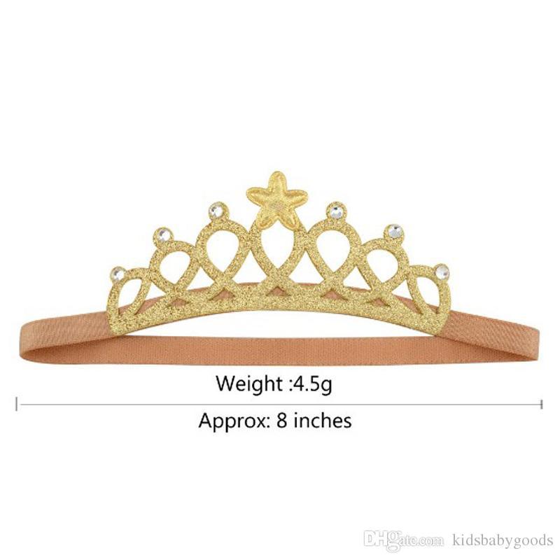 Accesorios para la cabeza de la nueva chica de oro / plata Hairbands Princesa Queen Rhinestone Tiara venda elástica del pelo diadema Kids Crown Headwear