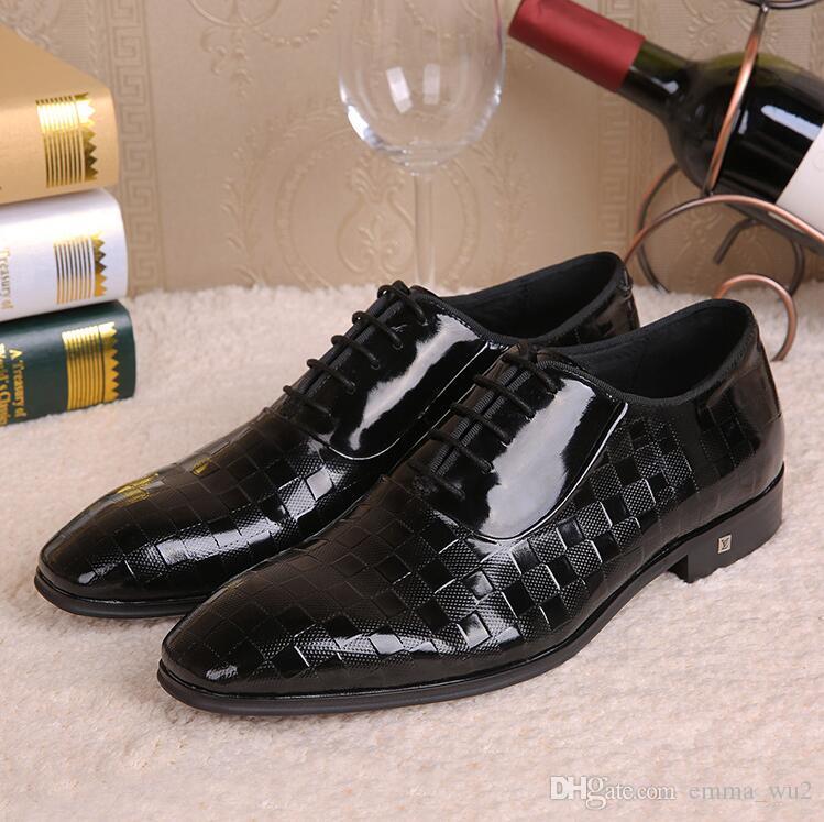 Italian Design Fashion Men Black Dress Shoes Genuine Leather Lace Up
