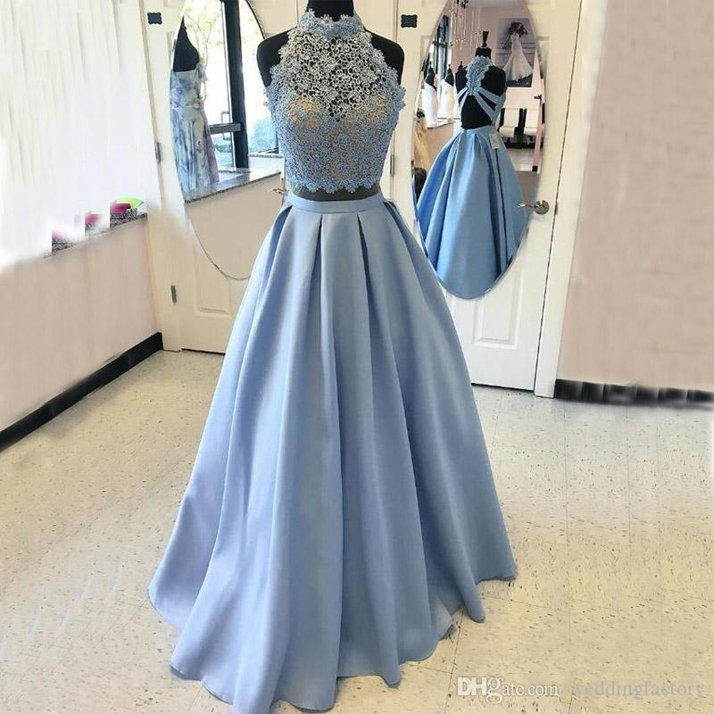 a79917b2e4 Stunning Long Prom Dresses Unique Backs Lace Top High Neck Sleeveless A Line  Floor Length Formal Evening Gowns Feather Prom Dresses Glam Prom Dresses  From ...