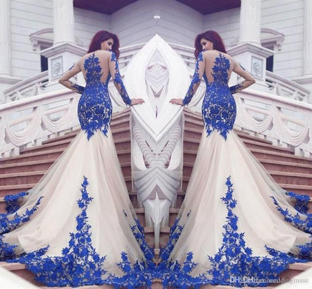 2021 New Dubai Mermaid Prom Dresses Royal Blue Lace Appliques Sheer Sexy See Through Back Long Sleeves Vestios De Fistea Evening Gowns