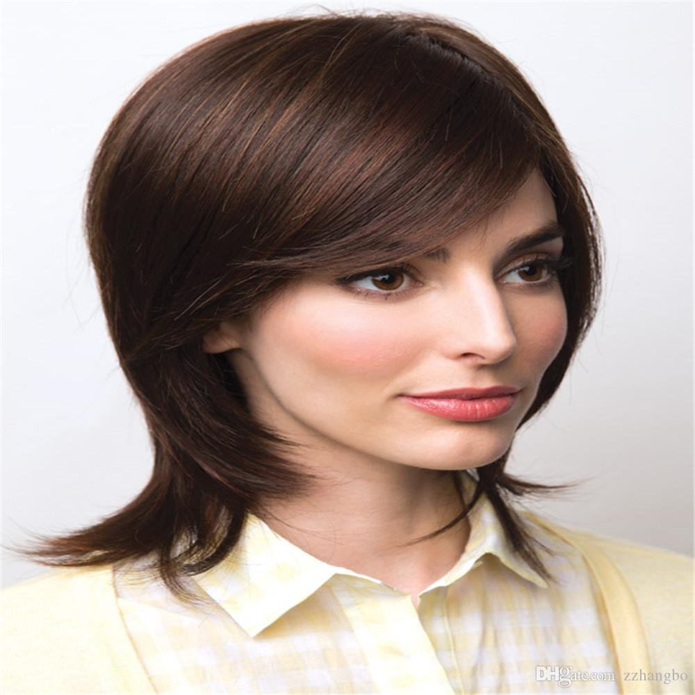 Full Lace Wigs celebrity wig Full Lace Human Hair Wig Senior silk Long Wavy Brazilian Virgin Hair 100% With Bangs For women Color 4# kabell