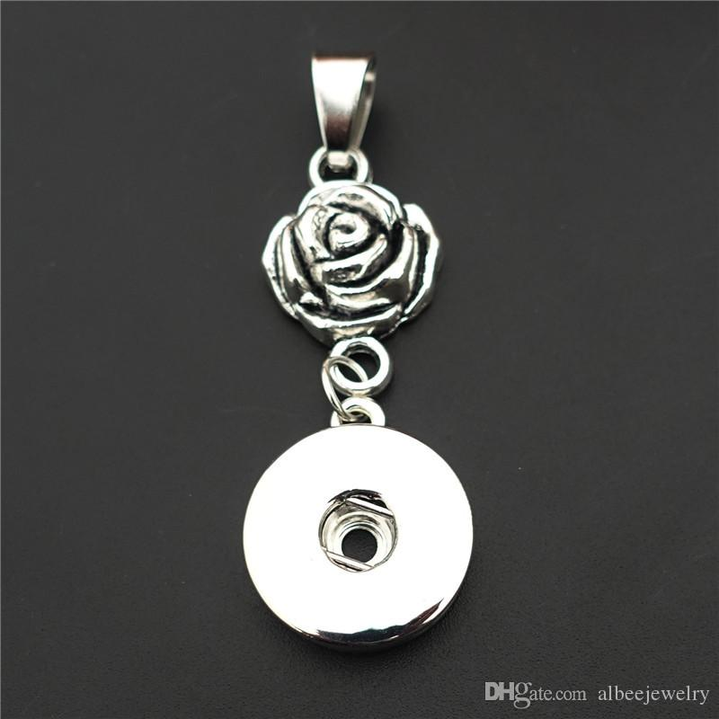 Moda Noosa Pedaços de Metal Gengibre 18mm Botões de Pressão Rosa Flor Pingente de Colar Com 50 cm Cadeia de Ligação