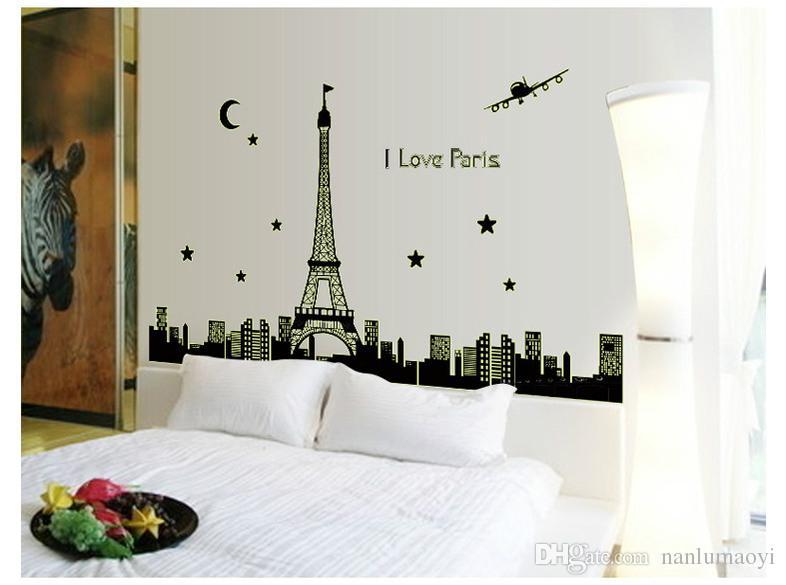 Acquista Decorazioni Pareti Da Parati Pareti Di Casa TV Camera Da Letto  Wallpaper New Creative Paris Eiffel Tower Adesivi Da Parete Luminosi ...