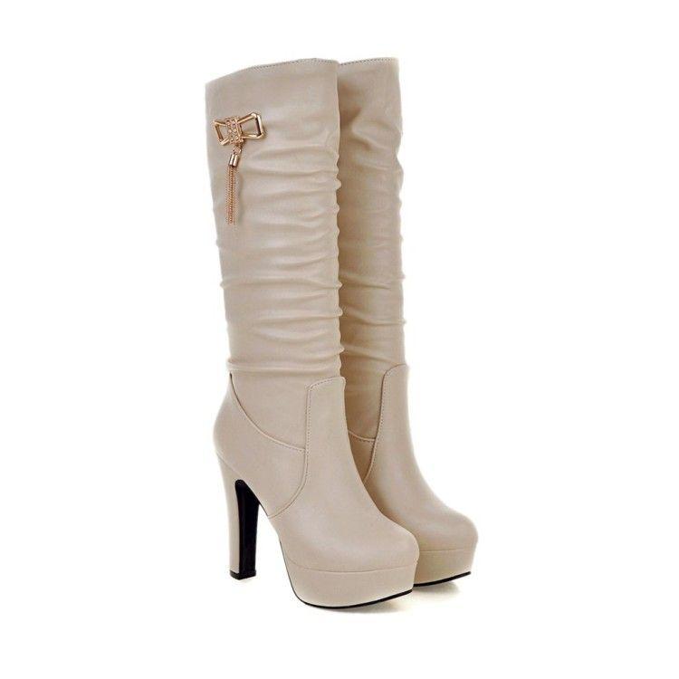 Stiefel PU 33 40 41 Schuhe der Frau, die kleine Yards 32 High Heel 12CM Platform 3.5CM EUR Größe 31-45