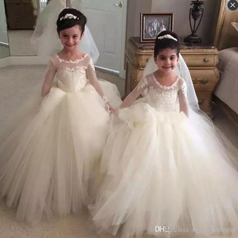 fd6101d3098e Simple Sheer Long Sleeves Mini Wedding Dresses 2018 Lace Appliques Tulle  Ball Gown Flower Girl Dress White Baby Pageant Gowns Cheap Flower Girl  Headpieces ...