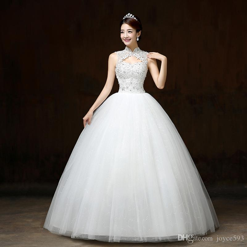 Halter Style Wedding Gowns: 2017 New Style Lace Wedding Dress Crystal Simple Chinese