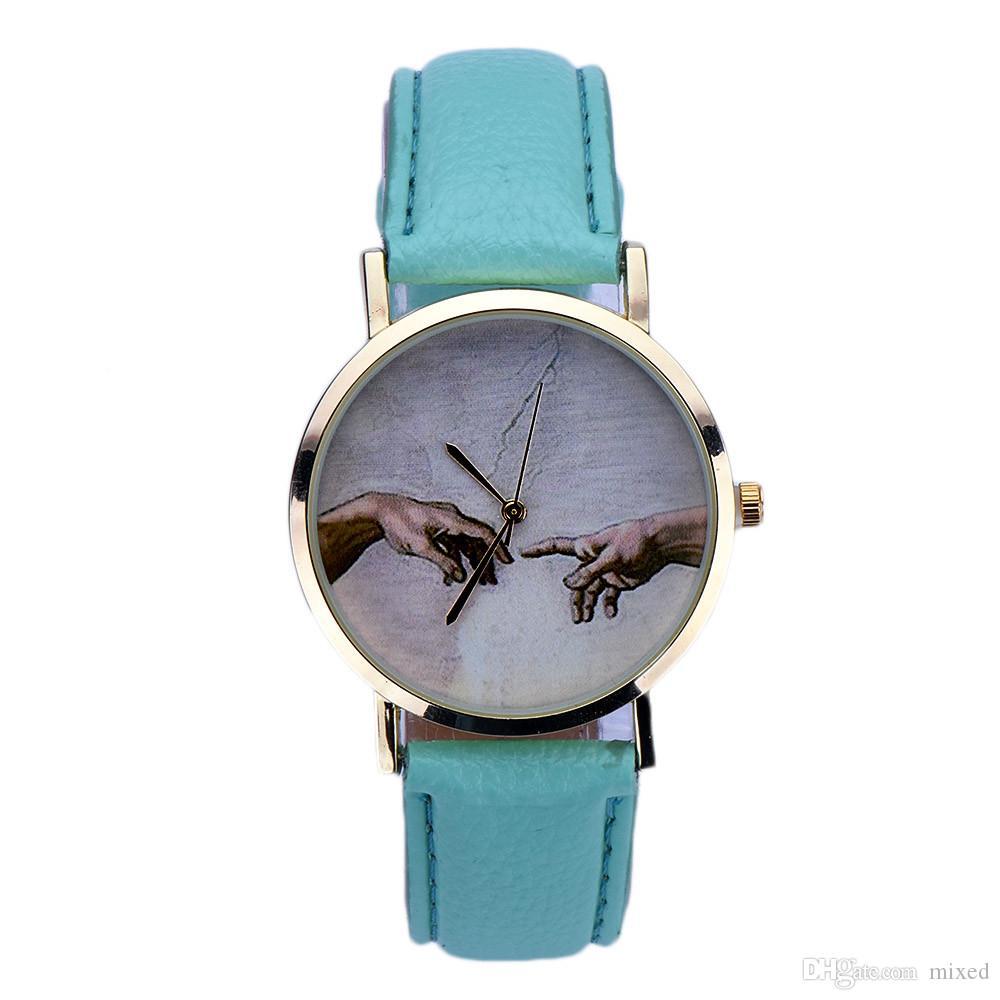 Новый дизайн Art Pattern Женщины Леди PU кожа кварцевые наручные часы Sep22 Gofuly