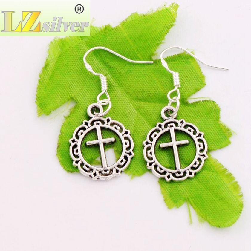 Flower Circle Cross Dangle Chandelier Earrings 925 Silver Fish Ear Hook E495 16.4x37.1mm