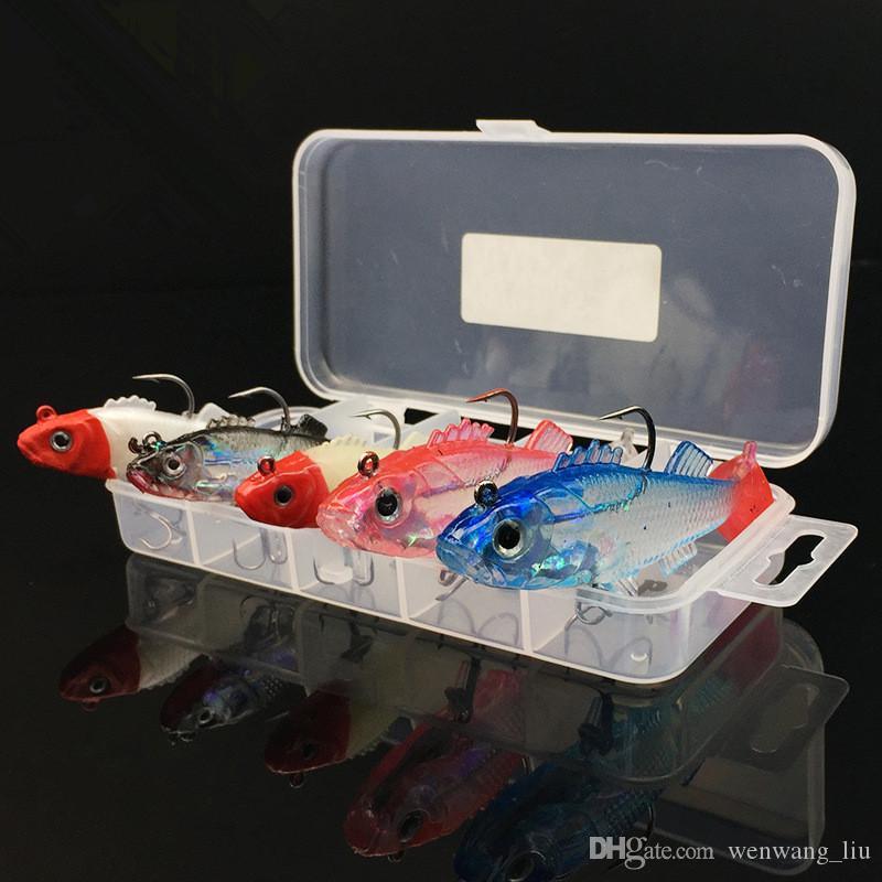 1 مربع + 5-color 6.5 سنتيمتر / 8 جرام 8.5 سنتيمتر / 15 جرام يؤدي هوك الصيد السنانير الخطافات لينة الطعوم السحر الاصطناعي الطعم pesca صيد السمك الملحقات