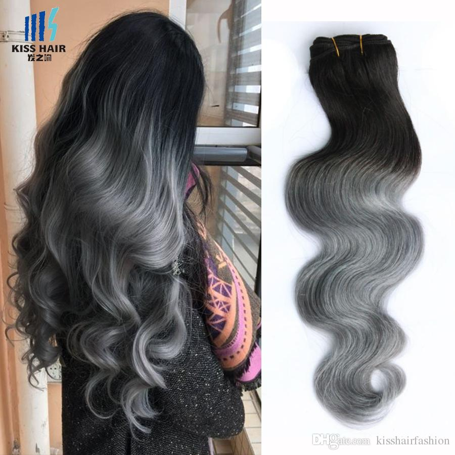 300g Ombre Two Tone Human Hair Bundles T 1B Grey Good Quality Colored Brazilian Hair Extension Brazilian Cambodian Peruvian Indian Body Wave
