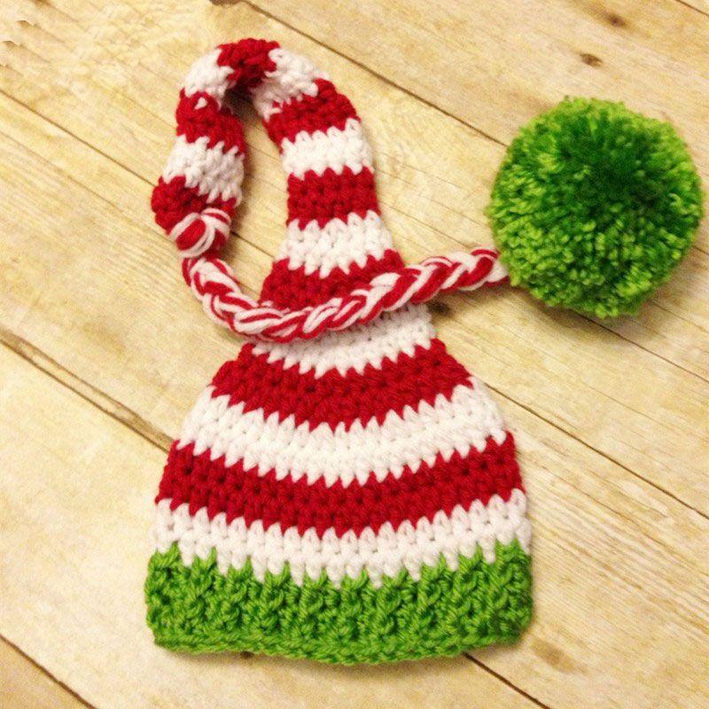 Cappello fatto a mano lavorato a maglia all'uncinetto di Santa Elf, cappello della ragazza di Natale della coda lunga di Natale Cappello a strisce di Pom Pom, puntello di fotografia appena nato, migliore regalo della doccia!