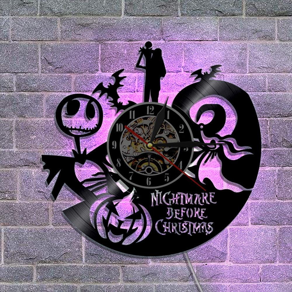 nightmare before christmas vinyl wall clock with led backlight vintage halloween colour led lightchristmas gift bath wall clock bathroom clock from