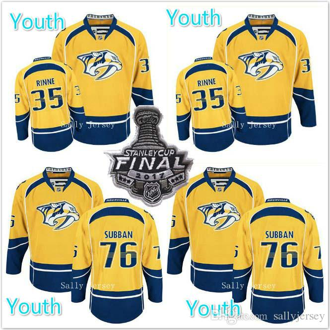 c4995956e ... 2017 Stanley Cup Youth New Goods Nashville Predators Jersey 76 PK Subban  35 Pekka Rinne Ice ...