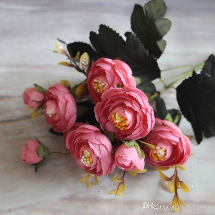 Yeni Sıcak Canlı 6 Dalları Sonbahar Yapay Sahte Şakayık Çiçek Vecize Ev Otel Odası Gelin Düğün Dekor Gerçek Dokunmatik