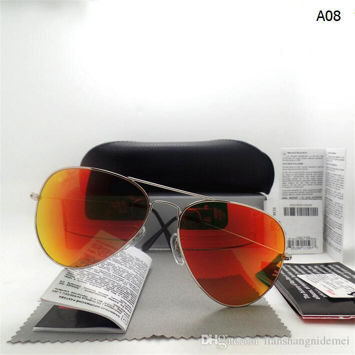 AAAA+ quality Glass lens Men Women Polit Fashion Sunglasses UV Protection Brand Designer Vintage Sport Sun glasses With box and sticker