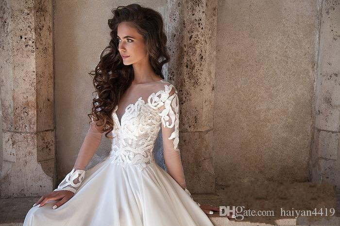 Milla Nova 2020 New Sexy Wedding Dresses A Line Lace Appliques Long Sleeves Side Split Button Back Chiffon Plus Size Formal Bridal Gowns