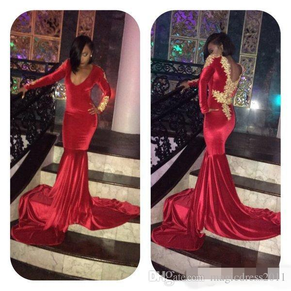 2019 Red Velvet Mermaid Prom Dresses Gold Applique Sexy V Neck Long Sleeves Court Train Formal Evening Party Gowns Custom Made