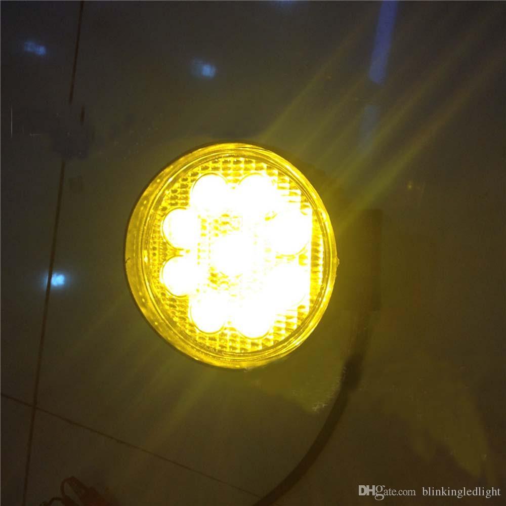4-дюймовый 27W круглый Янтарный LED работы Ligh 10-30 в пятно наводнения противотуманные фары для индикаторов мотоцикл вождения внедорожный лодка тракт грузовик 4x4 внедорожник ATV
