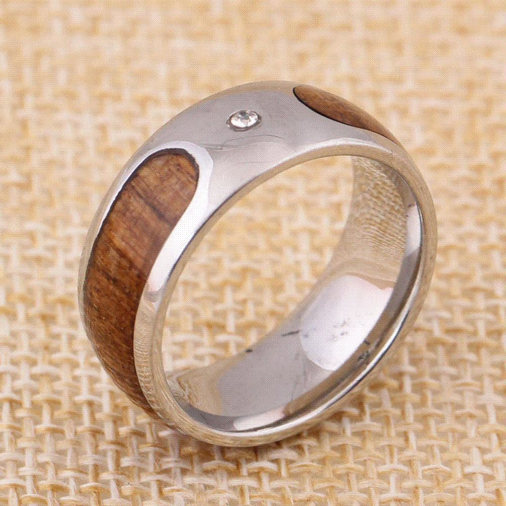 316l Stainless Steel NbspRing MenS Wedding Ring Retro Wood Grain