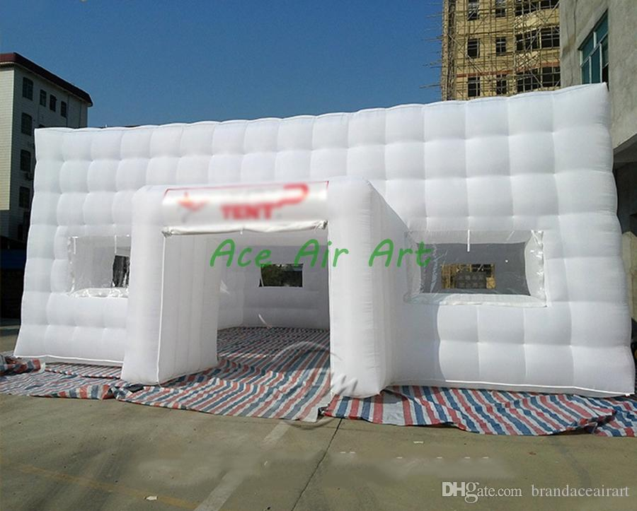 Inflatable Large White Party Tent Gazebo Canopy Commercial Fair Shelter Wedding Events tunnel CUBE marquee Party Tent