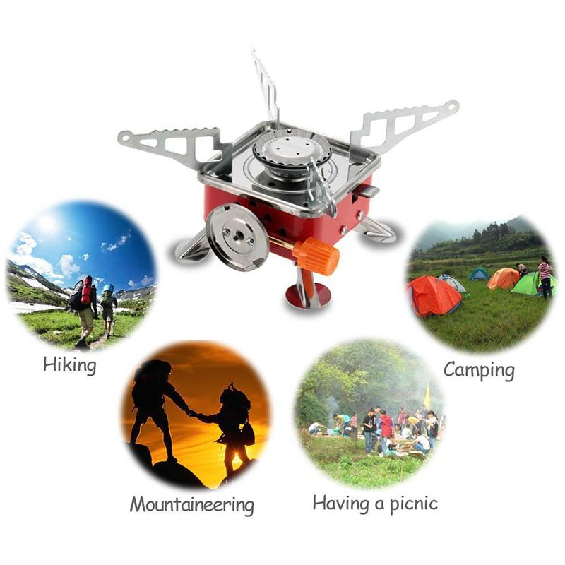 2017 Outdoor 4000BTU automatico piezoelettrico One Burner stufe a gas Quattro Square Picnic Camping Backpacking Cook Stove