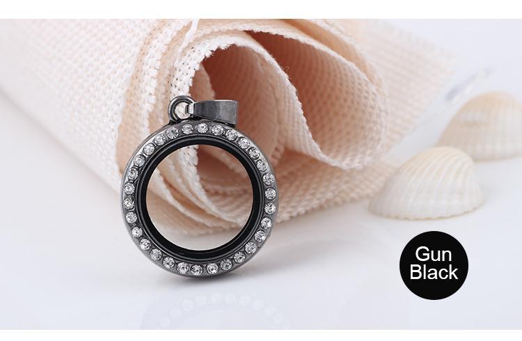 Moda 25 MM rotonda Living Memory medaglione cristalli bianchi di alta qualità Strass galleggianti medaglioni di vetro ciondoli pendenti Collane gioielli in forma