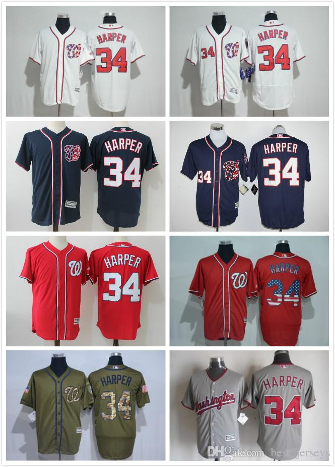 700cbcf0d ... cool base cc7f9 efcbb; coupon code for jersey washington nationals 34 bryce  harper white navy blue gray red fashion stars