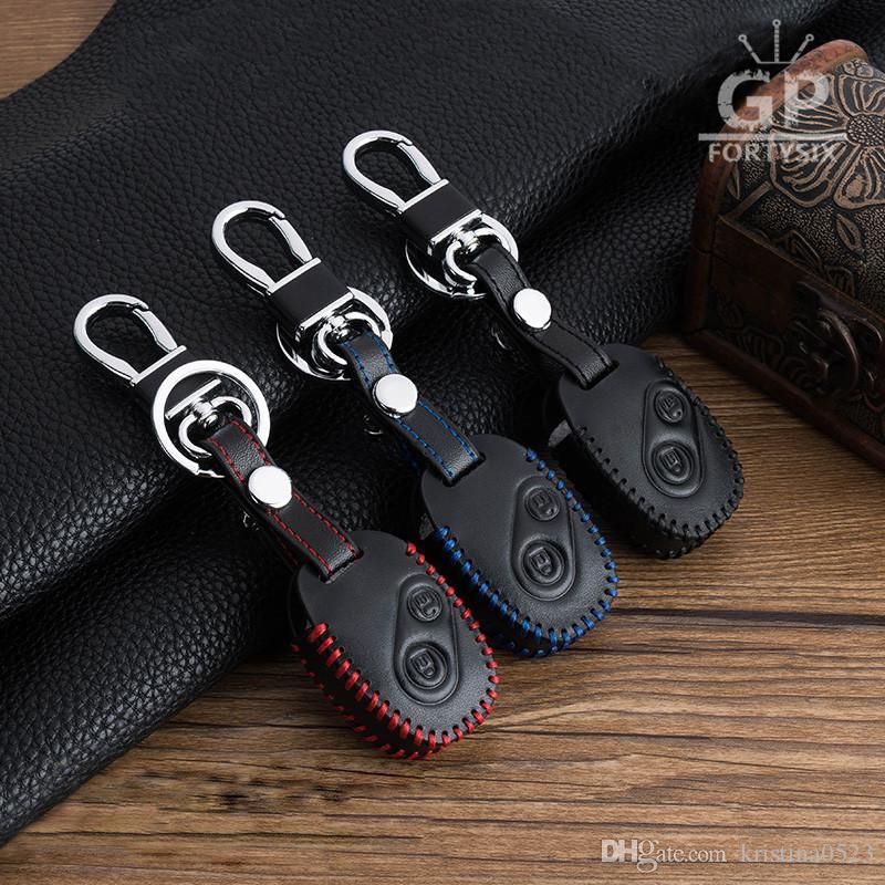 Logo Ile 10 Adet Yepyeni Hakiki Deri Cilt Araba Aksesuarları Anahtar Durumda Kapak Anahtarlık Honda Civic Jazz Pilot Accord Cr V 2 Düğmeler