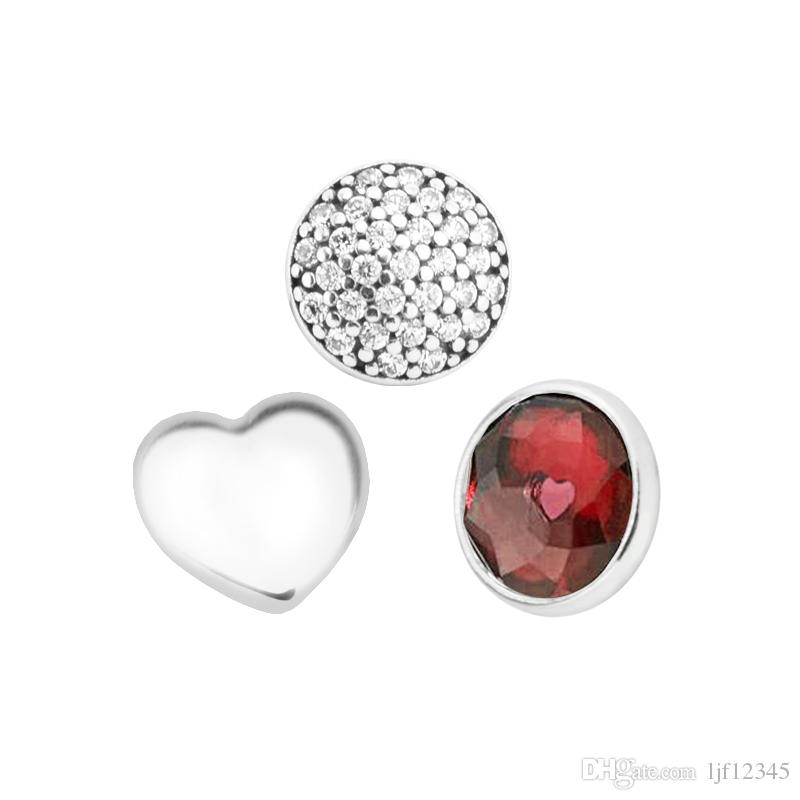 4ce79f745 2019 January Petites Garnet & Clear CZ Charm For Locket Necklace Charms  Fits Pandora Bracelet Sterling Silver Jewelry Making Charms From Ljf12345,  ...