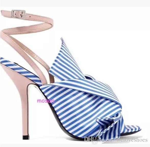 2017 여름 여성 줄무늬 스타일 샌들 활 신발 섹시한 엿봄 발가락 검투사 샌들 bowtie 하이힐 발목 스트랩 파티 신발