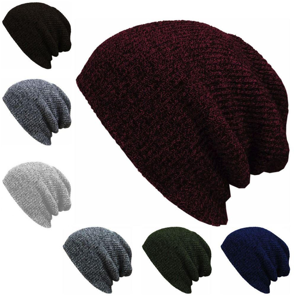139656913f2 Knit Men S Baggy Beanie Oversize Winter Warm Hats Ski Slouchy Chic Crochet Knitted  Cap For Women Girl S Hat Thick Female Cap Knit Beanie Cap Shop From ...