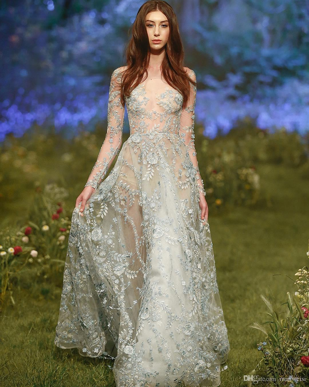 ce8cf955f Paolo Sebastian 2017 Sexy Prom Dresses Long Sleeve Embroidery Applique  Beads Evening Gowns Sheer Neck Illusion Bodice Formal Dress Blue Prom  Dresses Uk ...