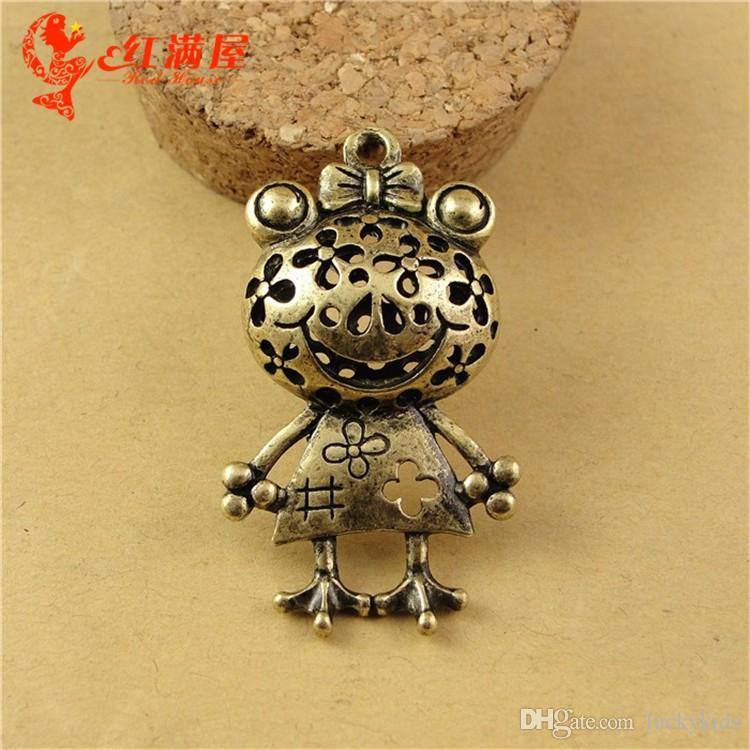 23*42MM Antique Bronze Retro princess frog charm pendant beads, necklaces accessories materials, Korean 3D animal shaped jewelry