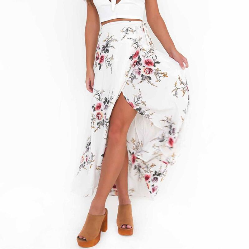 d05ff84dc Mujeres Vintage faldas largas de verano estampado floral elegante Beach  Maxi falda Boho falda asimétrica cintura alta