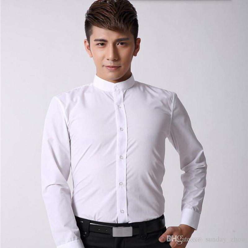 Chinese style men shirt mandarin collar business shirt white tailor made slim fit groom wedding dinner tuxedo shirt