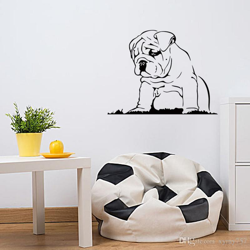 Hot Sale Languid Dog Vinyl Wall Sticker Bulldog Puppy Wall Decal - Locations where sell wall decals