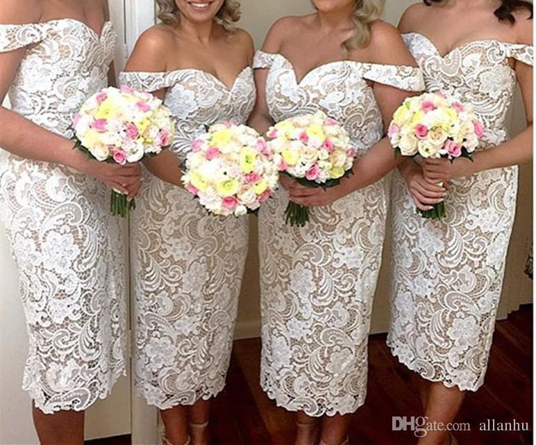 On Sale Fashion 2018 Avorio Pizzo Abiti da damigella d'onore al largo della spalla Tè-lunghezza Guaina Maid of Honor Dress Formal Dress Abiti da festa economici