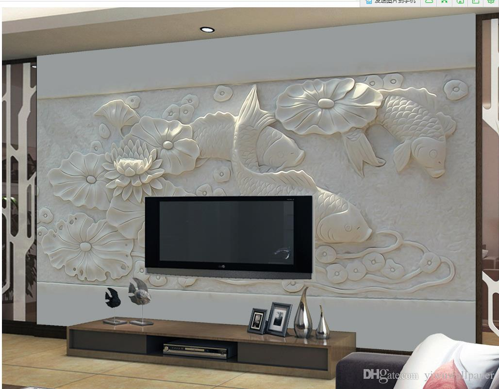 Luxo europeu Embossed Modern tridimensional lagoa lagoa imagem mural fundo papel de parede para paredes de 3 d para sala de estar