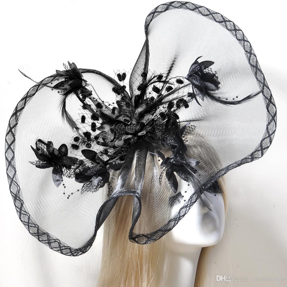 Handmade Feather Flower Large Fascinator Wedding Party Bride Bridal Woman Girls Netting Hair Accessories Headwear Hat